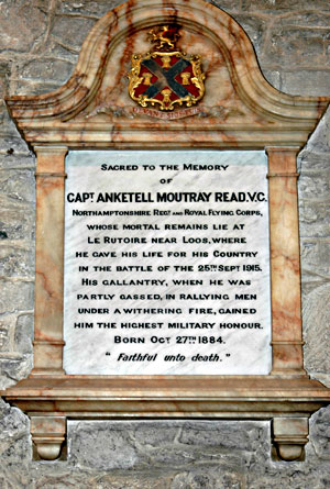 Memorial to AM REad VC in Bampton Church