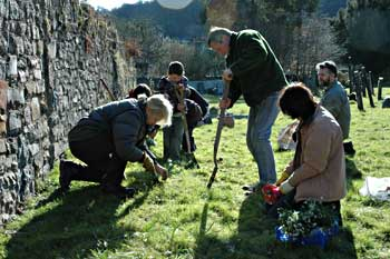 Planting the snowdrops - a family occasion
